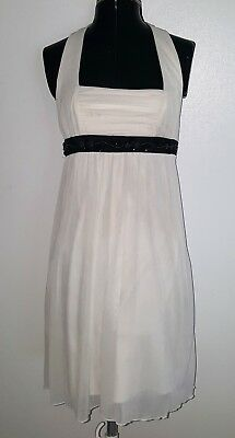 Sexy City Triangles White Halter Gathered Party Dress Black Beads Waist Small (Party City Beads)