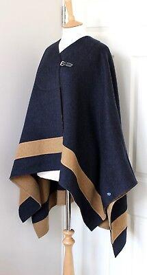 HERMES Paris cashmere cape poncho rocabar finitions cuir marine FR38 UK10 US4-6