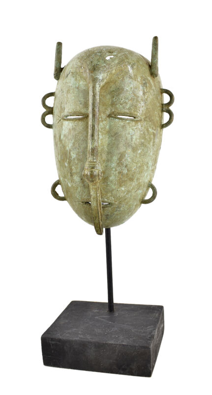 Kulango Metal Mask With Bird Ivory Coast Custom Stand African Art