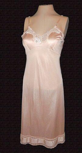 vintage, full Slip, Adonna, Antron-III-Nylon Rose-Beige Lace Sexy Mint 36