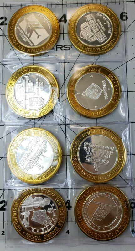 Limited edition ten dollar gaming token .999 Fine Silver LOT 8.
