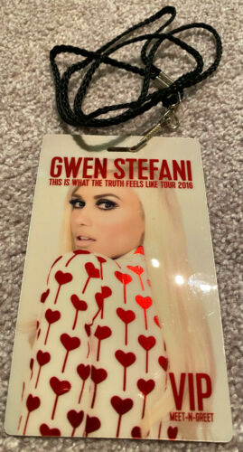 Gwen Stefani This Is What The Truth Feels Like Tour 2016 VIP Meet & Greet Pass