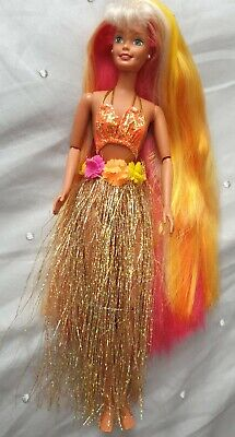 Vintage 90s Hula Hair Barbie doll original bikini grass Skirt Mattel long hair