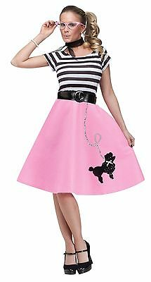 50's Halloween Costumes (Womens Poodle Skirt 50s Halloween Costume Grease Greaser Adult Fancy Dress)