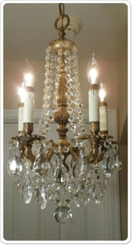 Vintage Petite French Bronze Chandelier With Prisms