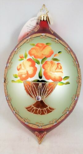 Radko Posey Reflections Floral Design Jeweled Glass Ornament New