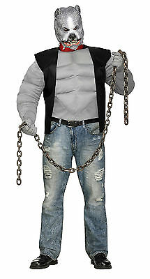 Fun World Men's Pit Bull Biker Dog Plus Size Costume & Mask up to 300 lbs](Biker Costumes For Men)