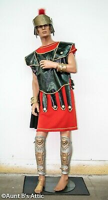Roman Solider Costume 8 Pc Rd/Blk Tunic Chest Armor Helmet Cuffs & Leg Guards M ](Roman Solider Costume)