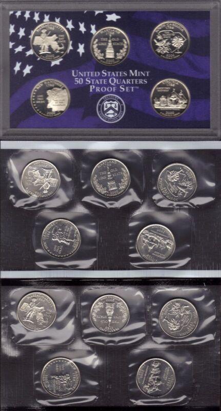 2000-P, D & S CLAD STATE QUARTER PROOF AND MINT SET SET ( 15 COINS )