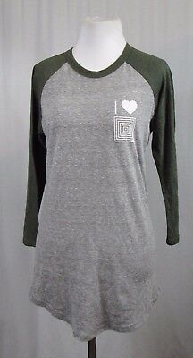 LuLaRoe Gray Green Spell Out Raglan 3/4 Sleeve Top XS ()