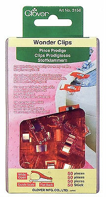 Clover Wonder Clips 50pc  #3156 Great Holding Capacity for Many Crafts
