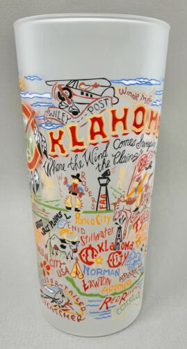 Cat Studio 2008 Oklahoma Glass, Retro Style Frosted Tumbler, The Sooner State