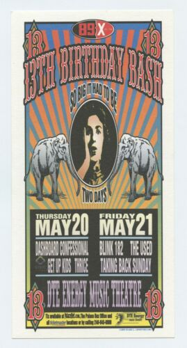 Dashboard Confessional Handbill w/ Blink 182 2004 May 20 Clarkston