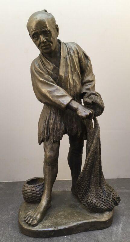 8Japanese Meiji Bronze Okimono - Fishing Man