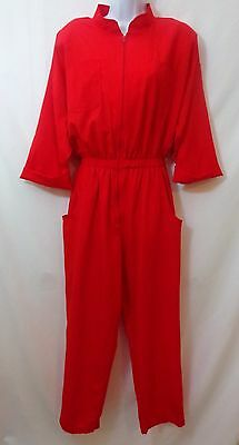 Vintage 80's Womens MATCHES Crinkle Red Jumpsuit Pantsuit Size 14