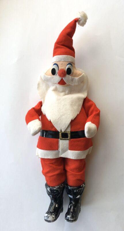Vtg Felt Santa Claus Standing Plush Figurine Toy 14 Mid Century Japan Decoration