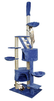101  Blue White Cat Tree Play House Tower Condo Furniture Scratch Post Basket