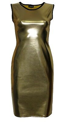 Metallic Wet Look Grease PVC Gold Midi Bodycon Dress](Grease Party Clothes)