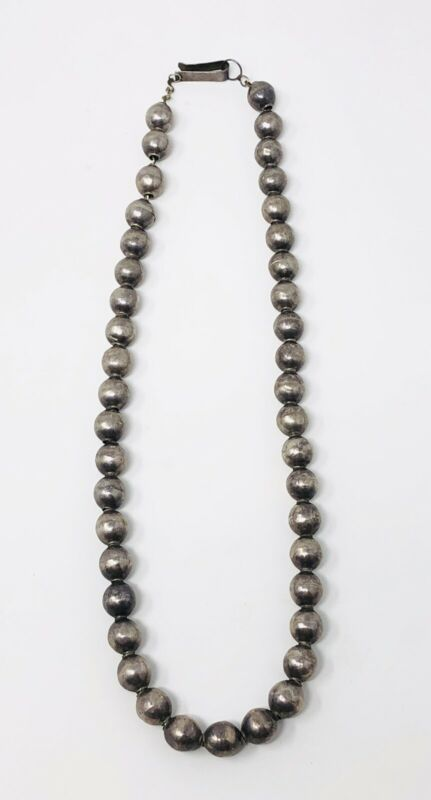"""Vintage Sterling Silver 925 Ball Beads Necklace 16"""" Iguala Mexico"""