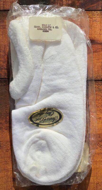 Vintage Sears Cling-Alon Plush Hi-Bulk ORLON Sport Ankle Socks 9-11 White NOS