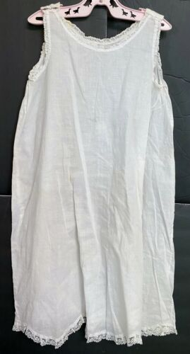 Vintage Girls Victorian White Cotton Long Petticoat Slip With Lace Trim