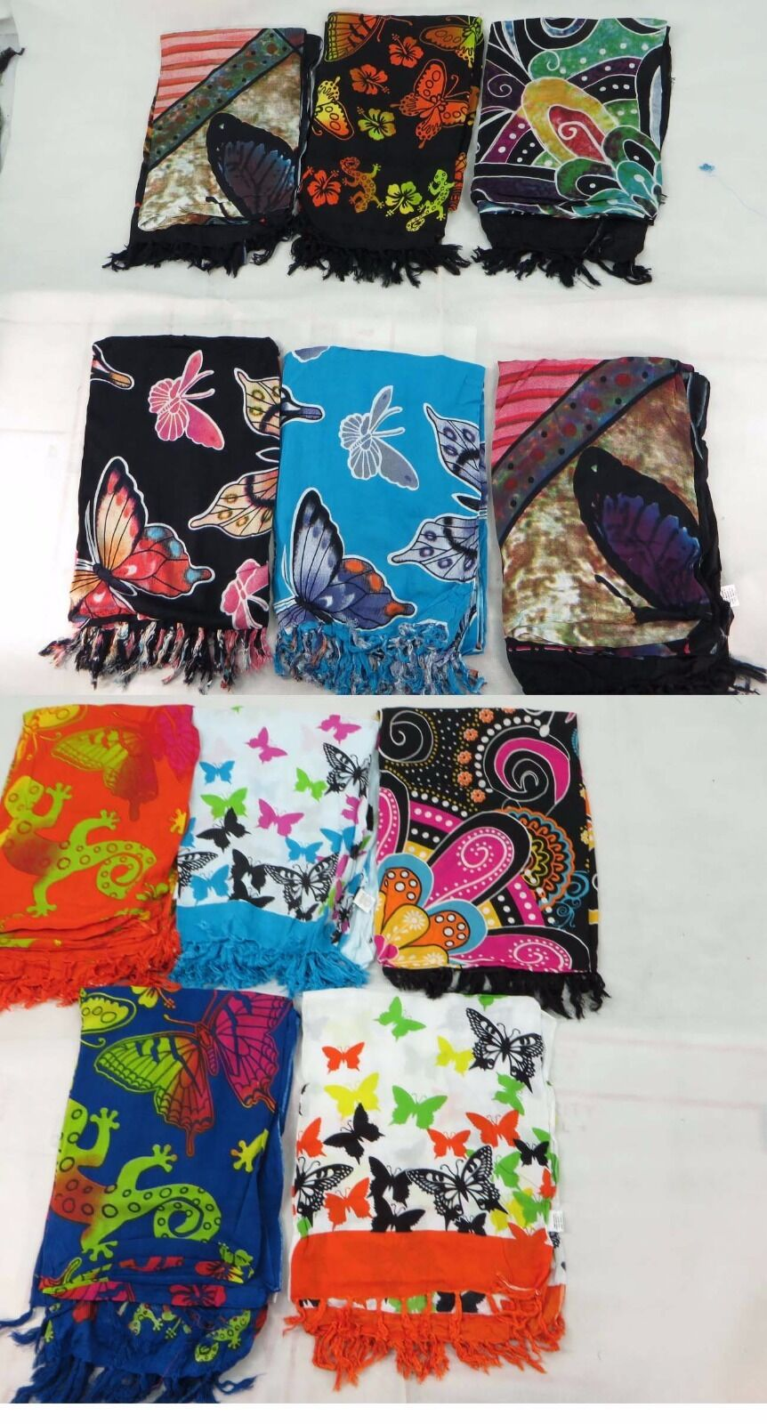 Lot of 10 wholesale butterfly sarong pareos beach shawl wrap stole...