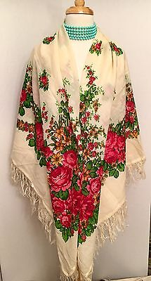 """PAVLOVO POSAD RUSSIAN White FLORAL X-LARGE WOOL SHAWL SCARF 57"""" SQUARE New"""