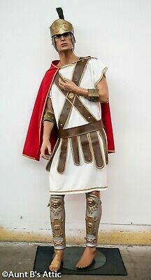 Roman Solider Costume (Roman Solider Costume 8Pc Wht/Red Tunic Armor Cape Helmet Cuffs & Leg Guards)