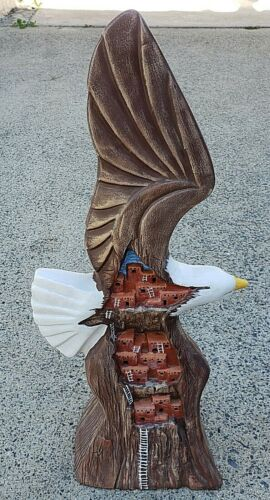 Vintage Large Ceramic Soaring Eagle with Wall Dwellings Figurine/ Light Nice!