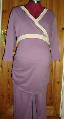 BNWT MATERNITY Mauve/Cream Mock Wrap For Easy Feeding Pyjamas Size XL 16-18