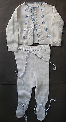 Babykleidung Hemdchen und Strumpfhose gestrickt weiß-blau