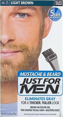 JUST FOR MEN Brush-In Color Gel, Mustache - Beard M-25 Light Brown 1 Each