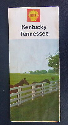1966 Kentucky Tennessee  road map Shell oil  gas