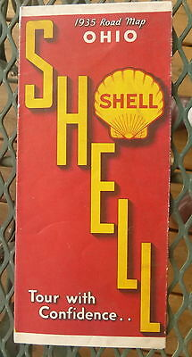 1935 Ohio  road  map Shell  oil gas United States on the back