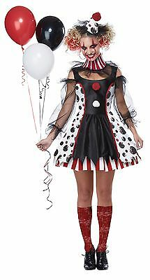 Creepy Scary Psycho Twisted Circus Clown Dress Costume Adult Women (Clown Costume Womens)