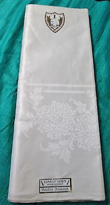 Antique Irish Linen Double Damask Tablecloth Unused W  Labels In Cruce Spero