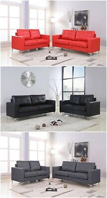 The Room Style Pu Leather Black/Red/Gray 2 Piece Sofa & Loveseat Living Room Set (2 Piece Leather Loveseat)