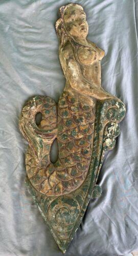 "36"" Wooden Mermaid Carving Flat Plaque Ship Mount Nautical Beach Tiki Siren"