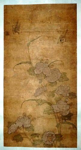 17C Chinese Ming Dynasty Silk Painting Scroll Two Birds and Flowers (FLA) #41