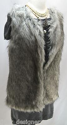 Evan Picone faux fur sweater vest jacket top womens SZ M zip front knit back VTG