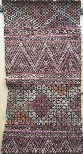 Beautiful 19th C. Moroccan Hand Woven Woolen Kilim Fabric  (2501)