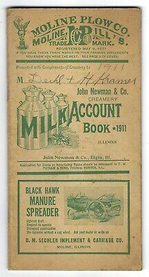 1911 John Newman Creamery Elgin IL Farm Account Book Adv Moline Plow etc