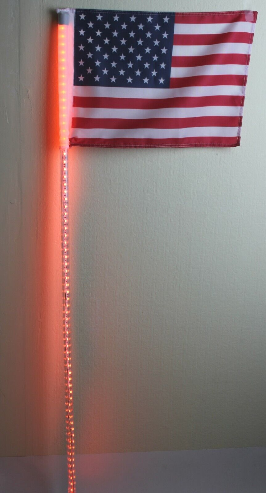 6 feet Led light bulb whip with American flag Quick Release- Amber Color