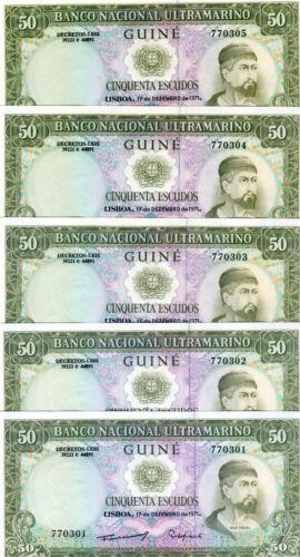LOT Portuguese Guinea, 5 x 50 Escudos, 1971, P-44, UNC