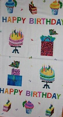 The Very Hungry Caterpillar Eric Carle Happy Birthday Panel Cotton Fabric