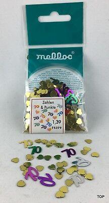 Zahlen Metall 70 Konfetti Streudeko 9 gr. farbig ausgestanzt  Party Geburtstag