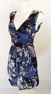 (WAREHOUSE satin Silk black blue grey Tie backless V neck Mini puffball dress 10)