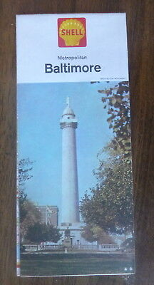 1964 metro Baltimore  road central & north street  map Shell oil  gas  Maryland