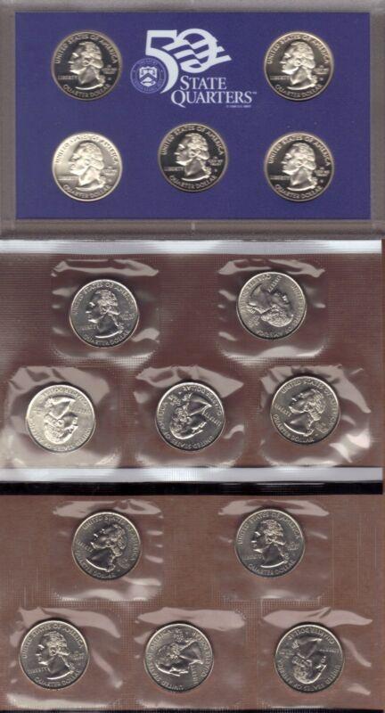 1999-P, D & S CLAD STATE QUARTER PROOF AND MINT SET SET ( 15 COINS )