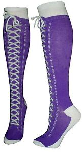 Sneaker-Converse-Novelty-Shoe-Knee-High-With-Shoe-Lace-Purple